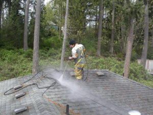 Pressure washing debris off of roof