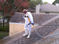 Using a safety line and professional equipment to pressure wash a roof
