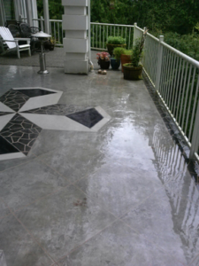 Pressure washed cement deck